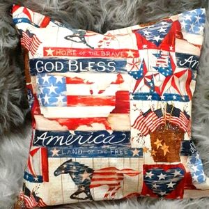 Patriotic Home of the Brave Accent Pillow